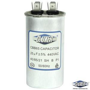 Capacitor de Trabajo 25Mf, Dual-440vac-370vac +-5%, 50/60Hz, Modelo: CXC44025 Marca CLUXER