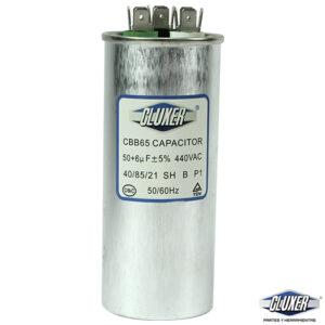 Capacitor de Trabajo 50/6Mf, Dual 440-370vac +-5%, 50/60Hz, Modelo: CXC440506, Marca CLUXER