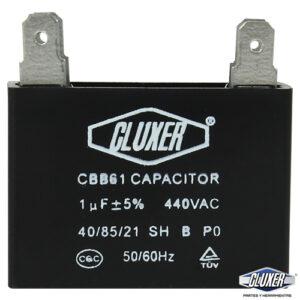 Capacitor de Ventilador, 1Mf, 440VAC +-5%, 50/60Hz, Cluxer CXCP4401