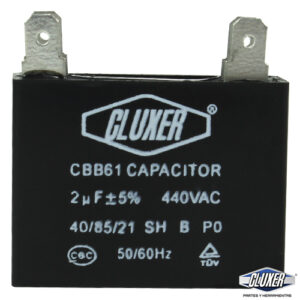 Capacitor de Ventilador 2Mf, Dual 440-370vac, +-5%, 50/60Hz, Modelo: CXCP4402 Marca CLUXER