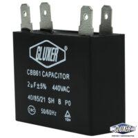 Capacitor de Ventilador, 2Mf, Dual-440vac-370vac, +-5%, 50/60Hz, Cluxer Modelo: CXCP4402