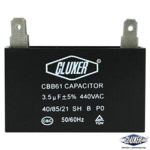 Capacitor de Ventilador 3.5Mf, Dual 440-370vac +-5%, 50/60Hz, Modelo: CXCP44035 Marca CLUXER