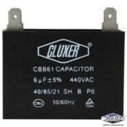 Capacitor de Ventilador 6Mf, Dual 440-370vac +-5%, 50/60Hz, Modelo: CXCP4406 Marca CLUXER